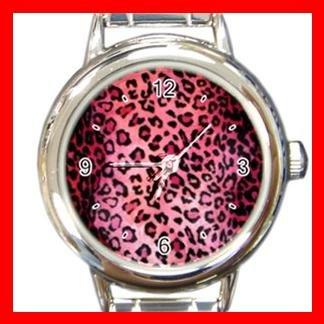 Pink Leopard Skin Pattern Italian Charm Wrist Watch 088