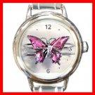 Pink Butterfly Leisure Italian Charm Wrist Watch 090