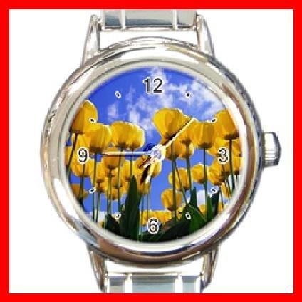 Yellow Tulips Flower Italian Charm Wrist Watch 096