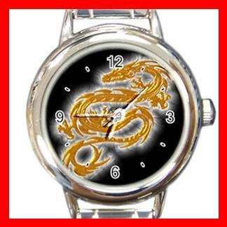Gold Dragon with White Corona Italian Charm Wrist Watch 110