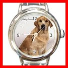 Golden Retriever Dog Round Italian Charm Wrist Watch 161