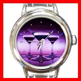 Wine Glass Purple Round Italian Charm Wrist Watch 166