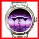 Wine Glass Purple Round Italian Charm Wrist Watch 166