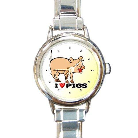 I Love Pigs Round Italian Charm Wrist Watch 180