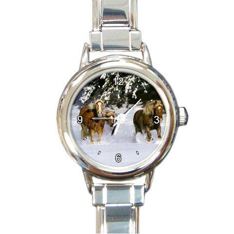 Horses Running on Snow Round Italian Charm Wrist Watch 189