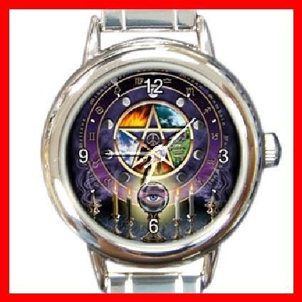 Wicca Pentacle Round Italian Charm Wrist Watch 191