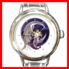 Celestial Fairy Moon Round Italian Charm Wrist Watch 195