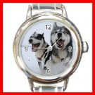 SIBERIAN HUSKY Dog Animal Round Italian Charm Wrist Watch 212