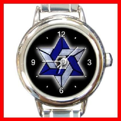 Star Of David Round Italian Charm Wrist Watch 218