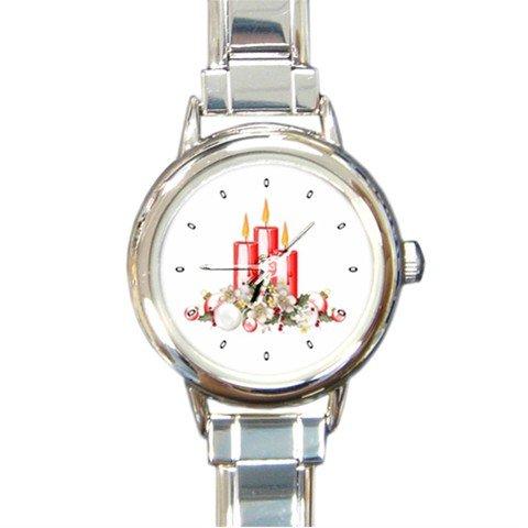 Pretty Candles Christmas Round Italian Charm Wrist Watch 219