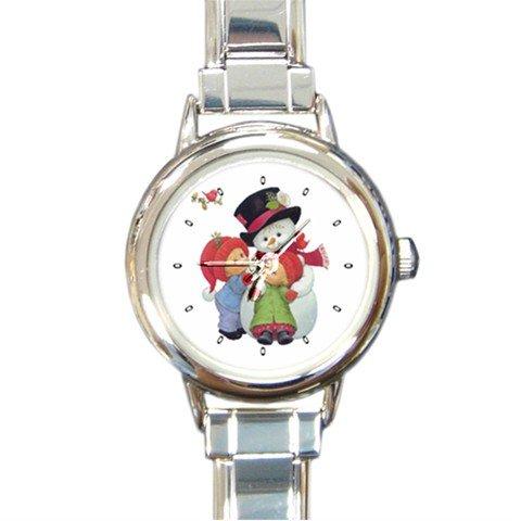 Snowman With Kids Winter Snow Round Italian Charm Wrist Watch 220