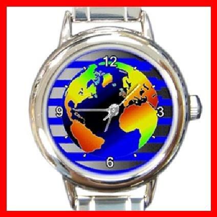 DIGITAL EARTH MAP Round Italian Charm Wrist Watch 224