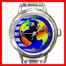 DIGITAL EARTH MAP Round Italian Charm Wrist Watch 224