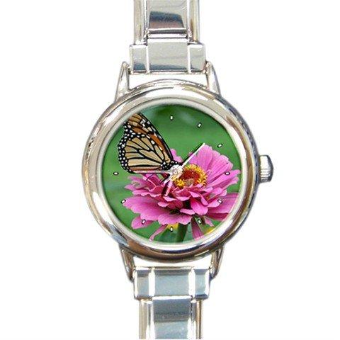 Butterfly Stop Pink Zinnia Fly Round Italian Charm Wrist Watch 226