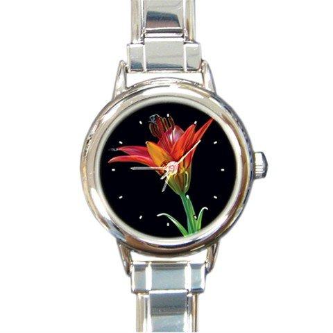 Tiger Lily Flower Round Italian Charm Wrist Watch 227