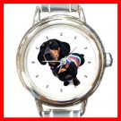 Dachshund Dog Pet Animal Round Italian Charm Wrist Watch 232