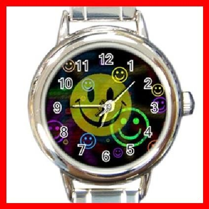 Cute SMILEY Face Smile Round Italian Charm Wrist Watch 235