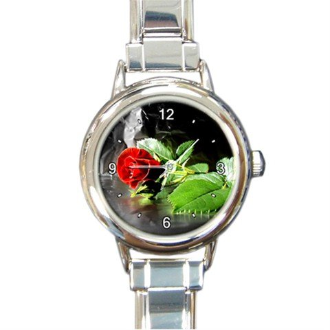 Fall Red Rose Flower Round Italian Charm Wrist Watch 237