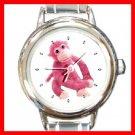 Pink Monkey Animal Round Italian Charm Wrist Watch 239