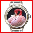 PINK FLAMINGO Bird Round Italian Charm Wrist Watch 240