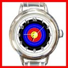 Archery Target Shoot Round Italian Charm Wrist Watch 249