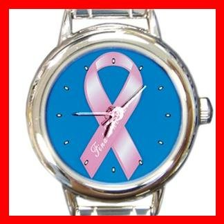 Breast Cancer Ribbon Round Italian Charm Wrist Watch 250