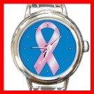 Breast Cancer Ribbon Round Italian Charm Wrist Watch 250