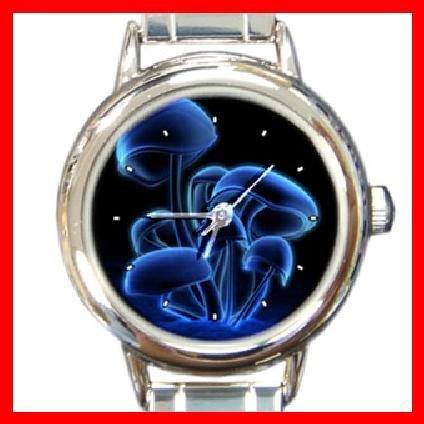 Magic Blue Mushroom Round Italian Charm Wrist Watch 256