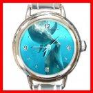 Dolphins Kiss Sea Round Italian Charm Wrist Watch 263