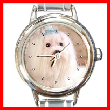 MALTESE Dog Pet Animal Round Italian Charm Wrist Watch 276
