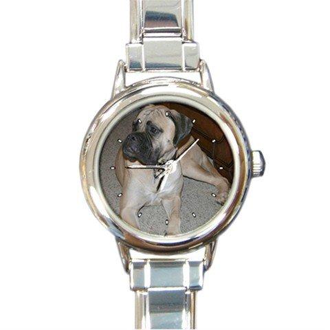 Bullmastiff Dog Pet Animal Round Italian Charm Wrist Watch 278