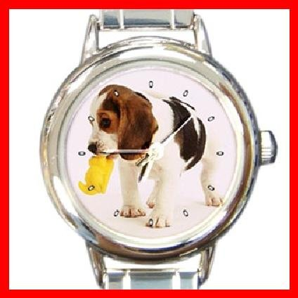 Beagle Dog Pet Animal Round Italian Charm Wrist Watch 279