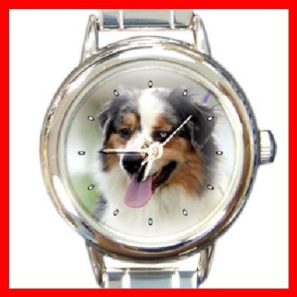 AUSTRALIAN SHEPHERD DOG Pet Animal Round Italian Charm Wrist Watch 280