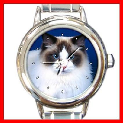 Cute Cat Kitty Pet Animal Round Italian Charm Wrist Watch 283