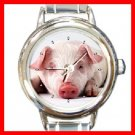 Cute Pig Animal Round Italian Charm Wrist Watch 285