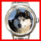 Siberian Husky DOG Pet Animal Round Italian Charm Wrist Watch 290