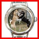 Shiba Inu Fighting DOG Pet Animal Round Italian Charm Wrist Watch 293