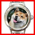 Shiba Inu DOG Pet Animal Round Italian Charm Wrist Watch 294