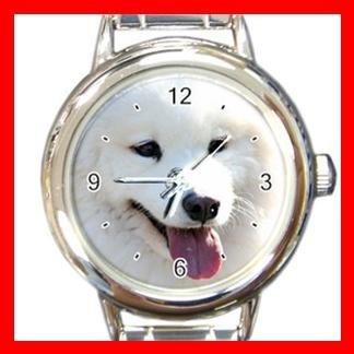Samoyed DOG Pet Animal Round Italian Charm Wrist Watch 303