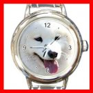 Samoyed DOG Pet Animal Round Italian Charm Wrist Watch 303