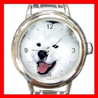 Samoyed DOG Pet Animal Round Italian Charm Wrist Watch 304
