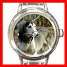 Saluki DOG Pet Animal Round Italian Charm Wrist Watch 305