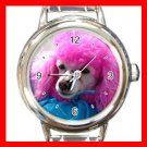 Pink Hair Poodle DOG Pet Animal Round Italian Charm Wrist Watch 310