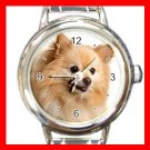 Pomeranian DOG Pet Animal Round Italian Charm Wrist Watch 312