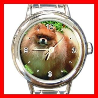 Pomeranian DOG Pet Animal Round Italian Charm Wrist Watch 313