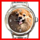 Pomeranian DOG Pet Animal Round Italian Charm Wrist Watch 314