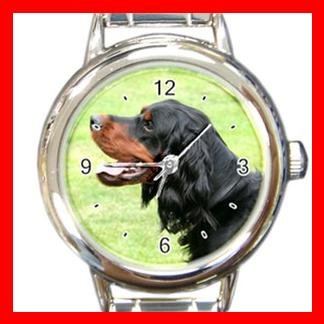 Gordon Setter DOG Pet Animal Round Italian Charm Wrist Watch 344
