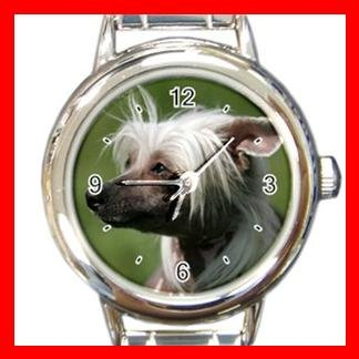 Chinese Crested Dog Pet Animal Round Italian Charm Wrist Watch 360