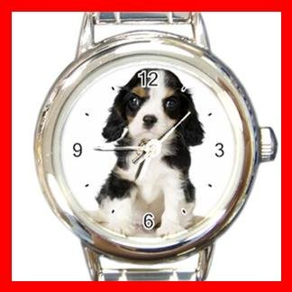 Cavalier King Charles Spaniel Dog Pet Animal Round Italian Charm Wrist Watch 362