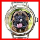 Bullmastiff Dog Pet Animal Round Italian Charm Wrist Watch 364